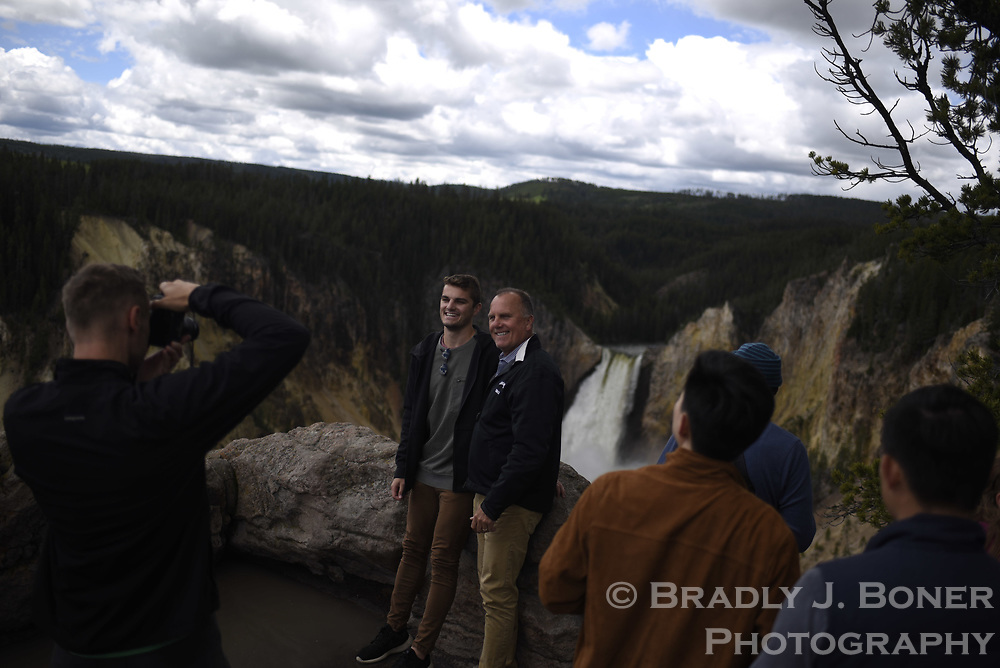 Tourists at Lookout Point in Yellowstone National Park