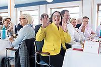 05 JUN 2018, BERLIN/GERMANY:<br /> Andrea Nahles, SPD Partei- und Fraktionsvorsitzende, lacht nach dem Hinweis von Johannes Kahrs, sie k&ouml;nne Mitglied bei den Seeheimern werden, Spargelfahrt des Seeheimer Kreises der SPD, Anleger Wannsee<br /> IMAGE: 20180605-01-110<br /> KEYWORDS: Rede, speech