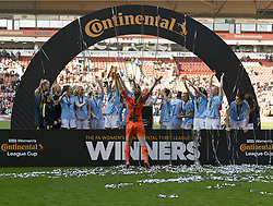 February 23, 2019 - Sheffield, England, United Kingdom - Sheffield, England 23rd February. Karen Bardsley leads the celebrations when Manchester City win the league cup  during the  FA Women's Continental League Cup Final  between Arsenal and Manchester City Women at the Bramall Lane Football Ground, Sheffield United FC Sheffield, Saturday 23rd February. (Credit Image: © Action Foto Sport/NurPhoto via ZUMA Press)