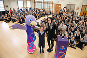 Picture by Allan McKenzie/SWpix.com - 26/03/2019 - Netball - Vitality Netball Worlde Cup Mascot Launch - St Albans High School Prep - Wheathampstead, St Albans, England - Netball World Cup Mascot Jude with Orla Burner & Jade Clark at the mascot unveiling.