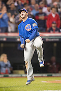 CLEVELAND, OH - NOVEMBER 2, 2016: Anthony Rizzo #44 of the Chicago Cubs celebrates after he scores in the top of the tenth inning on a single hit by teammate Miguel Montero #47 during Game 7 of the 2016 World Series against the Cleveland Indians at Progressive Field on November 2, 2016 in Cleveland, Ohio. (Photo by Jean Fruth)