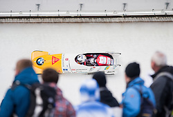 14.02.2016, Olympiaeisbahn Igls, Innsbruck, AUT, FIBT WM, Bob und Skeleton, Zweierbob Herren, 3. Lauf, im Bild Beat Hefti und Alex Baumann (SUI) // Beat Hefti and Alex Baumann of Switzerland competes during two men Bobsleigh 3rd run of FIBT Bobsleigh and Skeleton World Championships at the Olympiaeisbahn Igls in Innsbruck, Austria on 2016/02/14. EXPA Pictures © 2016, PhotoCredit: EXPA/ Johann Groder