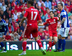 LIVERPOOL, ENGLAND - Saturday, April 23, 2011: Liverpool's Joe Cole scores his side's fifth goal against Birmingham City during the Premiership match at Anfield. (Photo by David Rawcliffe/Propaganda)