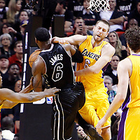 19 January 2012: Los Angeles Lakers power forward Josh McRoberts (6) makes a foul on Miami Heat small forward LeBron James (6) during the Miami Heat 98-87 victory over the Los Angeles Lakers at the AmericanAirlines Arena, Miami, Florida, USA.