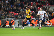 Shawn McCoulsky of Newport County is chased by Harry Winks of Tottenham Hotspur during the The FA Cup fourth round replay match between Tottenham Hotspur and Newport County at Wembley Stadium, London, England on 6 February 2018. Picture by Toyin Oshodi.