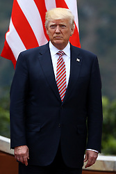 May 26, 2017 - Taormina, Italy - G7 Summit 2017 in Italy..The President of the United States of America Donald Trump during the welcome ceremony and the photo family at Taormina, Italy on May 26, 2017...Leaders of the G7 group of nations, which includes the Unted States, Canada, Japan, the United Kingdom, Germany, France and Italy, as well as the European Union, are meeting at Taormina from May 26-27. (Credit Image: © Matteo Ciambelli/NurPhoto via ZUMA Press)