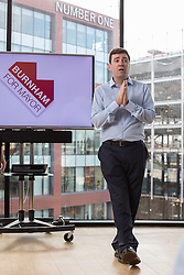 "© Licensed to London News Pictures . 10/11/2016 . Manchester , UK . Labour Party candidate ANDY BURNHAM delivers a speech and hosts a Q&A at the launch of the party's campaign for the Greater Manchester Mayoralty , at the "" HOME "" arts venue on Tony Wilson Place , First Street , Manchester . Photo credit : Joel Goodman/LNP"