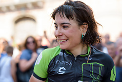 Sheyla Gutierrez wells up after winning Stage 7 of the Giro Rosa - a 141.9 km road race, between Isernia and Baronissi on July 6, 2017, in Isernia, Italy. (Photo by Sean Robinson/Velofocus.com)