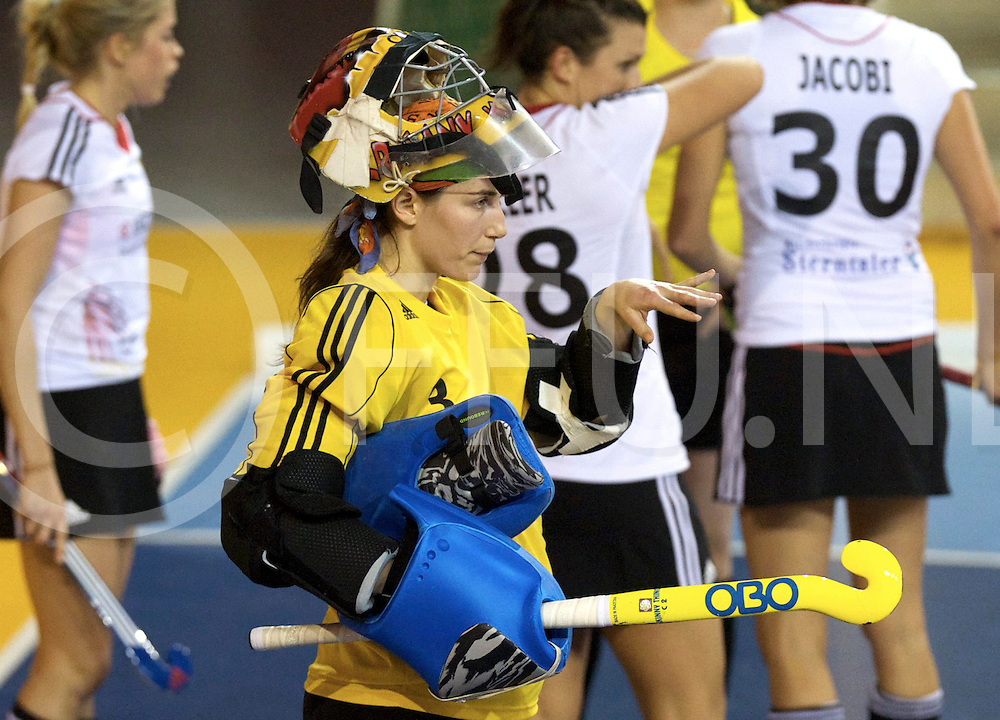 Prague - EuroHockey Indoor Championship (W) 2014<br /> 07 NED v GER (Pool B)<br /> foto: German goalkeeper Kim  PLATTEN.<br /> FFU PRESS AGENCY COPYRIGHT FRANK UIJLENBROEK
