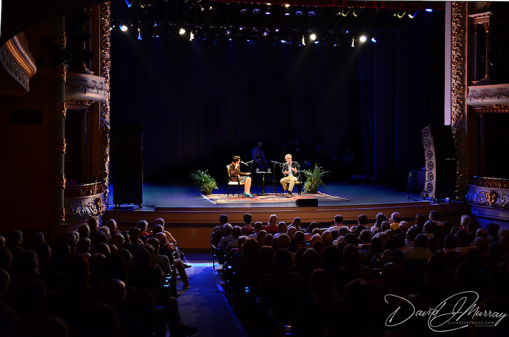 NHPR's Virginia Prescott interviews author Carl Hiaasen during a Writers on a New England Stage show at The Music Hall in Portsmouth, NH