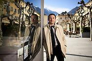 Fr&eacute;d&eacute;ric Favre, candidat PLR au gouvernement valaisan<br /> le 23 fevrier 2017 sur la place de Martigny<br /> <br /> (Olivier Maire)