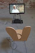 """12th Biennale of Architecture. Arsenale. Hans Ulrich Obrist (r.), Switzerland. """"Serpentine 24-Hour Interview Marathon"""", 2006. Here with Paolo Baratta, Biennale President."""