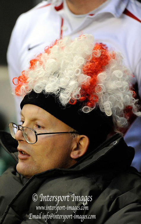 Twickenham. Great Britain, England fan watches the England warm up before the Six Nations Rugby match, England vs Wales, match played at the RFU Stadium, England on SAT. 06/02/2010  [Mandatory Credit. Peter Spurrier/Intersport Images]