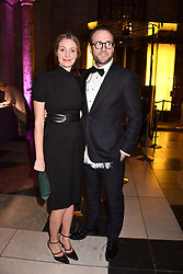 Rafe Spall and his wife Elize du Toit at The Sugarplum Dinner 2017 to benefit the type 1 diabetes charity JDRF held at the Victoria & Albert Museum, Cromwell Road, London England. 14 November 2017.