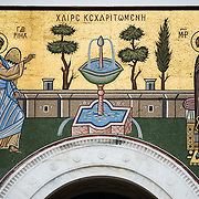 A mosaic that sits above the main entrance of the Metropolitan Cathedral of Athens. Dedicated in May 1862, the Metropolitan Cathedral of Athens (also known as Metropolitan Cathedral of the Annunciation) is the cathedral church of the Archbishopric of Athens and all Greece. It sits on a square not far from Monastiraki and the Ancient Agora.