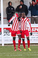 David Moyo of Brackley Town (left) celebrates scoring his team's second goal against Lowestoft Town to make it 2-0 with Ebby Nelson-Addy of Brackley Town (right) during the Conference North match at St. James Park, Brackley<br /> Picture by David Horn/Focus Images Ltd +44 7545 970036<br /> 24/01/2015