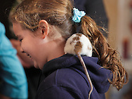 "Middletown, New York - A domestic rat crawls on a girl's neck at the Interactive Museum during Jan Berlin's program ""Live Animals from Around the World"" on Feb. 7, 2010."
