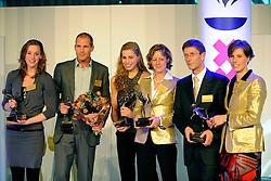 15-12-2008 ALGEMEEN: TOPSPORT GALA: AMSTERDAM<br /> De Amsterdamse winnaars op het podium. Vlnr. Sportvrouw Femke Heemskerk, sportman Marcel van der Westen, sporttalent Tessa Brouwer, sportploeg Kirsten van der Kolk, sportcoach Josy Verdonkschot en Marit van der Eupen<br /> ©2008-WWW.FOTOHOOGENDOORN.NL