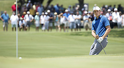May 25, 2018 - Fort Worth, TX, USA - Jordan Spieth reacts to just missing a chip in for eagle on hole number 1 during the second day of the Invitational at Colonial Friday, May 25, 2018 in Fort Worth, Texas. (Credit Image: © Brad Loper/TNS via ZUMA Wire)
