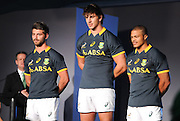 CAPE TOWN, SOUTH AFRICA - Thursday 24 April 2014, Willie le Roux, Eben Etsebeth and Juan de Jongh, springbok rugby players, during the Asics launch of the new Springbok rugby jersey at The Lookout in the V&amp;A Waterfront<br /> Photo by Roger Sedres/ImageSA