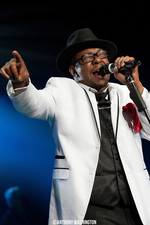 Bobby Brown of the group New Edition performs during the groups 30th Anniversary Reunion Tour at the 1st Mariner Arena in Baltimore, MD on Sunday, May 20, 2012.