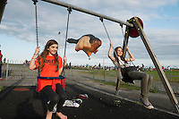 15/07/2015 repro free. Roisin Austin and  Isabella Irwin at The Galway International Arts Festival  Patricia Piccinini's SKYWHALE over Galway City and County and will continue for the rest of the week weather permitting  as the Galway International Arts Festival runs from July 13-26.  <br /> Photo:Andrew Downes:XPOSURE  <br /> Patricia is one of Australia's most acclaimed artists.