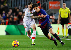 BARCELONA, Jan. 14, 2019  SP)SPAIN-BARCELONA-SOCCER-LA LIGA-BARCELONA VS EIBAR.    Barcelona's Philippe Coutinho (R) vies with Eibar's Ruben Pena.    during a Spanish league match between FC Barcelona and SD Eibar in Barcelona, Spain, on Jan. 13, 2019. FC Barcelona won 3-0. (Credit Image: © Joan Gosa/Xinhua via ZUMA Wire)