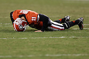 ATHENS, GA - NOVEMBER 23:  Quarterback Aaron Murray #11 of the Georgia Bulldogs lays on the ground after getting injured during the game against the Kentucky Wildcats at Sanford Stadium on November 23, 2013 in Athens, Georgia.  (Photo by Mike Zarrilli/Getty Images)
