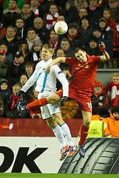 21.02.2013, Anfield, Liverpool, ENG, UEFA Europa League, FC Liverpool vs Zenit St. Petersburg, im Bild Liverpool's Stewart Downing in action against FC Zenit St Petersburg's Tomas Hubocan during UEFA Europa League match between Liverpool FC and Zenit St. Petersburg at Anfield, Liverpool, Great Britain on 2013/02/21. EXPA Pictures © 2013, PhotoCredit: EXPA/ Propagandaphoto/ David Rawcliffe..***** ATTENTION - OUT OF ENG, GBR, UK *****