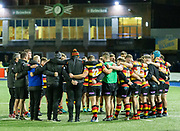 End of the game and Quins gather their thoughts.<br /> <br /> Cardiff Arms Park, Cardiff, Wales, UK - Saturday 19th October, 2019.<br /> <br /> Images from the Indigo Welsh Premiership rugby match between Cardiff RFC and Carmarthen Quins RFC. <br /> <br /> Photographer Dan Minto<br /> <br /> mail@danmintophotography.com <br /> www.danmintophotography.com