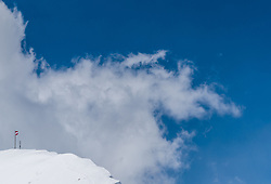 THEMENBILD - eine Österreichische Fahne weht im Wind auf einem verschneiten Bergkamm. Die Grossglockner Hochalpenstrasse verbindet die beiden Bundeslaender Salzburg und Kaernten mit einer Laenge von 48 Kilometer und ist als Erlebnisstrasse vorrangig von touristischer Bedeutung, aufgenommen am 2. Mai 2017, Fusch a. d. Glocknerstrasse, Oesterreich // an Austrian flag waving in the wind on a snowy ridge. The Grossglockner High Alpine Road connects the two provinces of Salzburg and Carinthia with a length of 48 km and is as an adventure road priority of tourist interest at Fusch a. d. Glocknerstrasse, Austria on 2017/05/02. EXPA Pictures © 2017, PhotoCredit: EXPA/ JFK