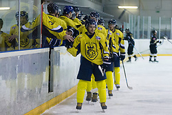 Players of HK ECE Celje during Inter National League ice hockey match between HK Playboy Slavija and HK ECE Celje, on September 30, 2015, in Ledena Dvorana Zalog, Ljubljana, Slovenia. Photo by Urban Urbanc / Sportida