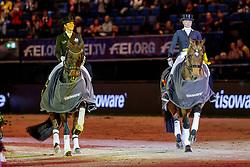 WERTH Isabell (GER), Emilio, MÜLLER Lisa (GER), Gut Wettlkam's Stand By Me Old<br /> Stuttgart - German Masters 2019<br /> Siegerehrung<br /> GERMAN DRESSAGE MASTER<br /> Grand Prix Special<br /> 17. November 2019<br /> © www.sportfotos-lafrentz.de/Stefan Lafrentz