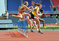 Picture by Alan Stanford/Focus Images Ltd +44 7915 056117<br /> 12/07/2013<br /> Action from the 400m hurdles heat  during day two of Sainsbury's British Championship at Alexander Stadium, Birmingham.