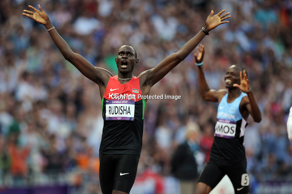 David Lekuta Rudisha of Kenya wins the Mens 800m Final in world record time of 1:40.91. Track and Field, Olympic Stadium, London, England. 9 August 2012.<br /> Photo:Andrew Cornaga/Photosport.co.nz