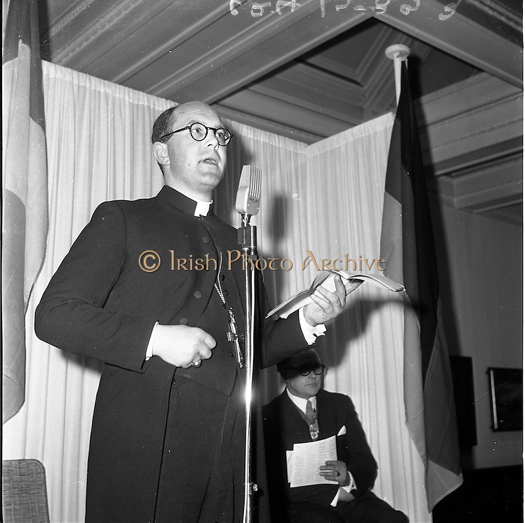 "21/01/1962.01/21/1962.The official opening by the Lord Abbott of Glenstal Abbey, Co. Limerick of an exhibition entitled ""Modern Churches in Germany"" took place at the Dublin Municipal Art Gallery on Sunday 21/01/1962. The exhibition, consisting of the architecture, stained glass and sacred vessels of modern German churches ran to the 21/02/1962. Picture shows the Lord Abbot speaking at the opening.."