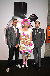 Left to right, designer ROLF SNOEREN, artist GRAYSON PERRY and VIKTOR HORSTING (Designers VIKTOR & ROLF) at the opening of 'The House of Viktor & Rolf' an exhibtion of designs by Viktor & Rolf held at The Barbican Art Gallery, Silk Sytreet, London on 17th June 2008.<br />