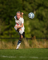 Nina Caruso drives a corner kick during Laconia's matchup with Berlin at Robbie Mills Field Tuesday afternoon.  (Karen Bobotas/for the Laconia Daily Sun)
