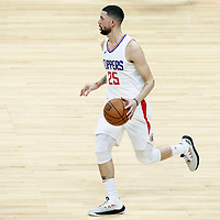 26 December 2017: LA Clippers guard Austin Rivers (25) brings the ball up court during the LA Clippers 122-95 victory over the Sacramento Kings, at the Staples Center, Los Angeles, California, USA.