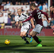 Dundee&rsquo;s Henrik Ojamaa takes on Hearts&rsquo; Andraz Struna - Hearts v Dundee in the Ladbrokes Scottish Premiership at Tynecastle, Edinburgh, Photo: David Young<br /> <br />  - &copy; David Young - www.davidyoungphoto.co.uk - email: davidyoungphoto@gmail.com