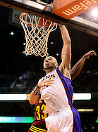 Nov. 09, 2012; Phoenix, AZ, USA; Phoenix Suns center Marcin Gortat (4) dunks the ball against the Cleveland Cavaliers during the second half at US Airways Center. The Suns defeated the Cavaliers 107-105. Mandatory Credit: Jennifer Stewart-US PRESSWIRE