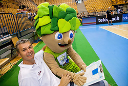 Ainars Bagatskis, head coach of Latvia and Lipko, official mascot during friendly match between National teams of Slovenia and Latvia for Eurobasket 2013 on August 2, 2013 in Arena Zlatorog, Celje, Slovenia. Slovenia defeated Latvia 71-67. (Photo by Vid Ponikvar / Sportida.com)