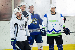 Anze Kopitar, NHL star and player of Los Angeles Kings, Jan Urbas, Tomaz Razinger and David Rodman during practice session and press conference before Kopitar's departure to USA, on September 3, 2014 in Ledna dvorana Bled, Slovenia. Photo by Vid Ponikvar  / Sportida.com