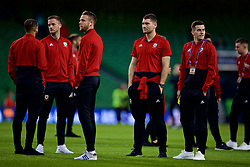 DUBLIN, IRELAND - Tuesday, October 16, 2018: The Wales team inspect the pitch before the UEFA Nations League Group Stage League B Group 4 match between Republic of Ireland and Wales at the Aviva Stadium. Andy King, Chris Gunter, Sam Vokes, Tom Lawrence. (Pic by Paul Greenwood/Propaganda)