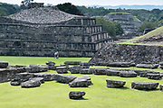 Overview of the Mesoamerica North Ballcourts at the pre-Columbian archeological complex of El Tajin in Tajin, Veracruz, Mexico. El Tajín flourished from 600 to 1200 CE and during this time numerous temples, palaces, ballcourts, and pyramids were built by the Totonac people and is one of the largest and most important cities of the Classic era of Mesoamerica.
