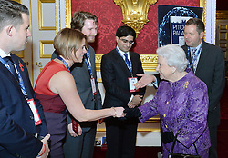 Queen Elizabeth II shakes hands with Nicola Chilman during the opening of Pitch@Palace 6.0, an initiative set up by the Duke of York to guide, help and connect entrepreneurs with potential supporters, including CEOs, influencers, mentors, and business partners, in order to accelerate and amplify their businesses, at St James's Palace in London.