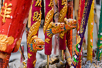 Colourful incense sticks burning at a temple.