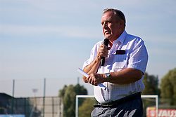NEWPORT, WALES - Wednesday, July 25, 2018: Vice President of the Football Association of Wales, Dai Alun Jones makes a speech after the Welsh Football Trust Cymru Cup 2018 at Dragon Park. (Pic by Paul Greenwood/Propaganda)