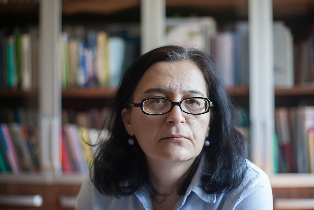 Portrait of Jasminka Frishchikj - Executive Director of ESE at the ESE office in Skopje, Macedonia.