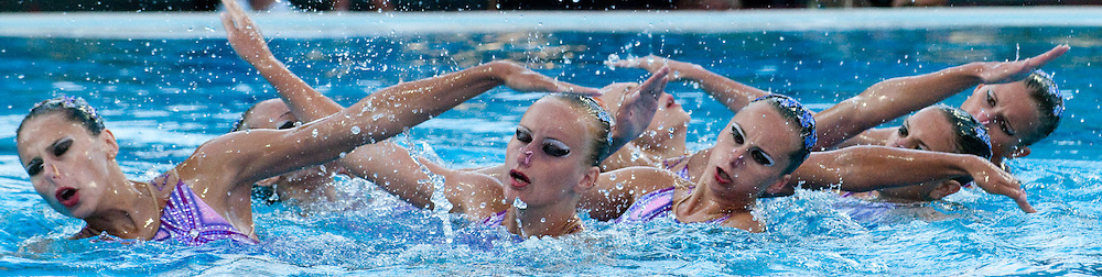 Budapest European Championships 2010.in Swimming, Diving, Synchronised Swimming, Open Water Swimming.Day 4.Syncro Team Free Routine Final...photo: Deepbluemedia.eu